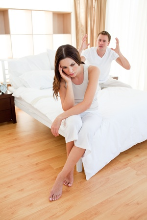 irate: Young couple having an argument Stock Photo