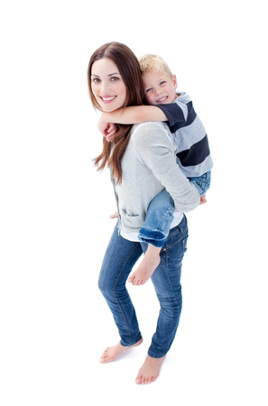 Beatiful Mother Giving Her Daughter A Piggyback Ride Stock Photo - 10095119