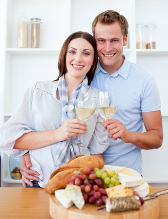 Smiling lovers drinking white wine Stock Photo - 10096603