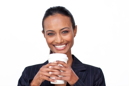 Businesswoman drinking a hot coffee Stock Photo - 10096132