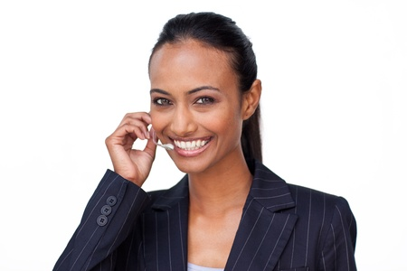 Indian businesswoman talking on a headset Stock Photo - 10096771