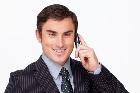 conference call: Portrait of a confident businessman on phone against white Stock Photo