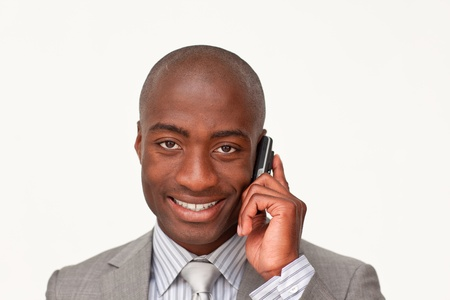 Afro-american businessman calling photo