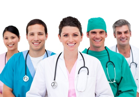 doctor surgeon: Beautiful doctor with her team behind him