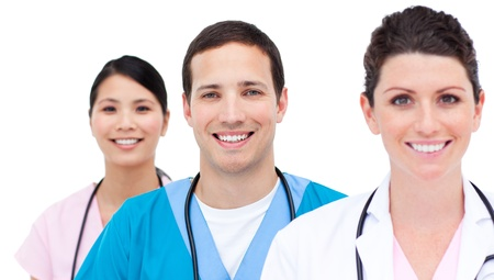 medical assistant: Smiling medical team against a white background