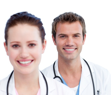 Confident medical staff against a white background photo