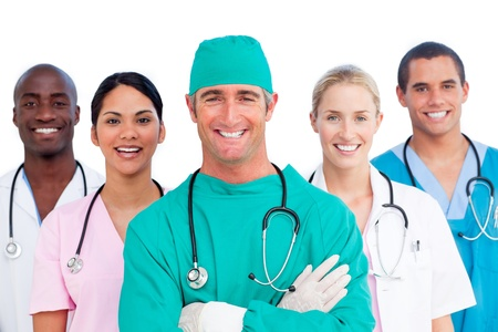 Medical surgeon with his team behind him photo
