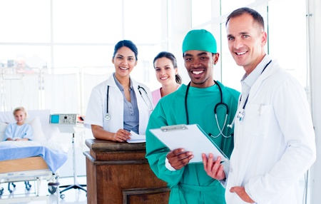 Portrait of a positive medical team at work photo