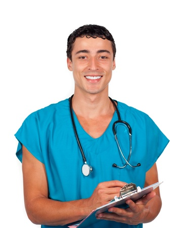 assertive: Assertive doctor holding a stethoscope Stock Photo