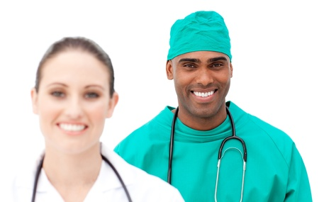 Multi-ethnic doctors standing in a row Stock Photo - 10106359
