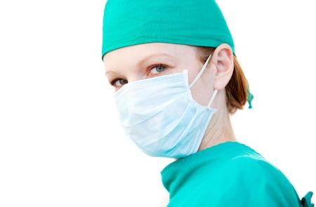 interventie: Mooie vrouwelijke chirurg vóór een ingreep Stockfoto