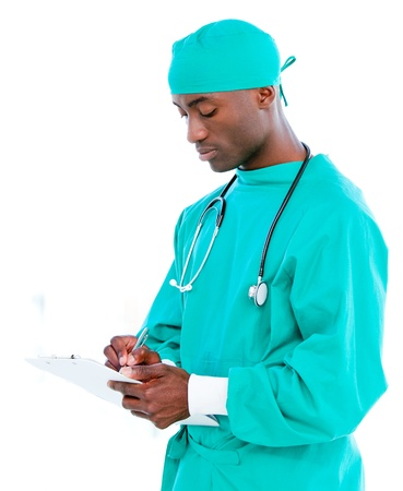 Afro-american surgeon writting a report Stock Photo - 10106261