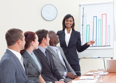 Businesswoman giving a presentation to her colleagues photo