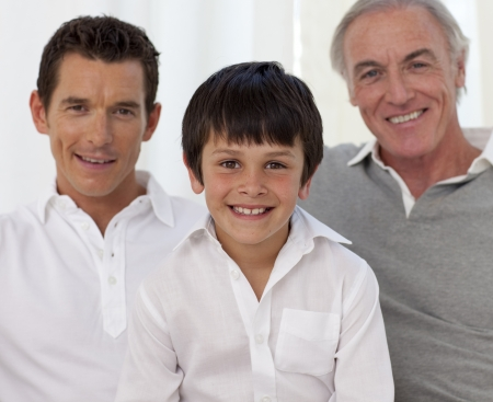three generation: Smiling son, father and grandfather Stock Photo