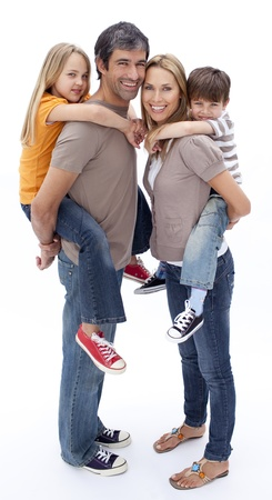 Family giving children piggyback ride Stock Photo - 10111270