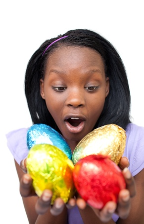 Joyful woman holding colorful Easter eggs  photo