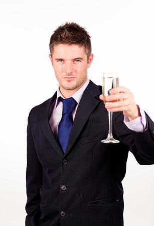 brindisi champagne: Imprenditore titolare di un bicchiere di champagne