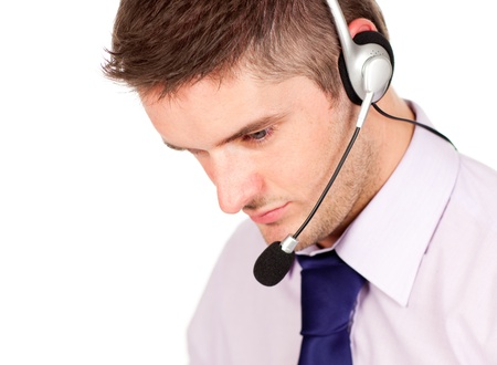 man on a headset looking away from the camera  photo