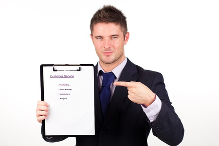 customer survey: businessman with customer service report