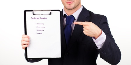 businessman with customer service report photo