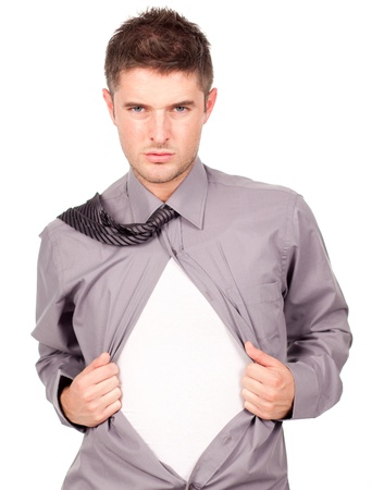 young attractive man pulling at his t-shirt Stock Photo - 10111273
