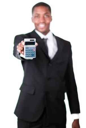 Handsome businessman holding a calculator Stock Photo - 10108883