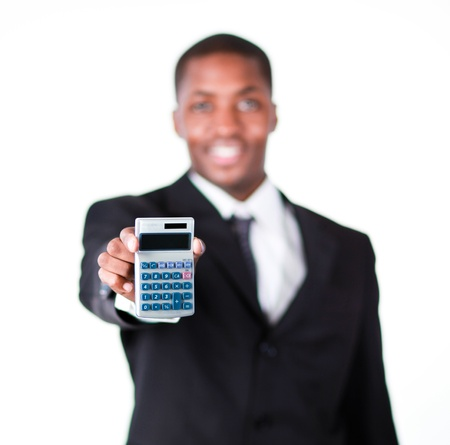 Close-up of a businessman holding a calculator Stock Photo - 10108358