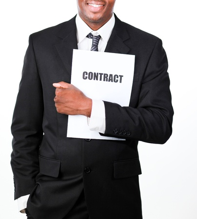 Close-up of a businessman holding a contract  photo