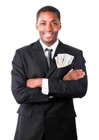 Handsome businessman with dollars in a pocket photo