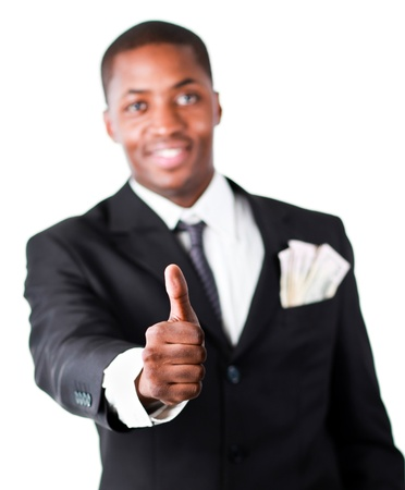 Close-up of a businessman with dollars in a pocket and thumb up Stock Photo - 10108379