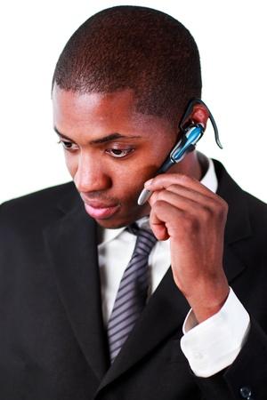 earpiece: Businessman wearing an earpiece Stock Photo