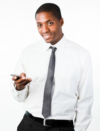 celulas humanas: Hombre de negocios confidente con el m�vil Foto de archivo
