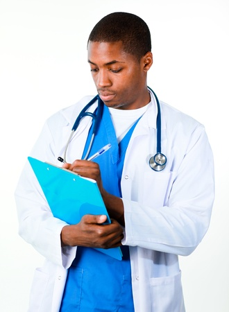 Handsome doctor with a clipboard photo
