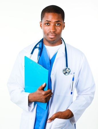 doctor symbol: Close-up of an Confident doctor holding a clipboard Stock Photo
