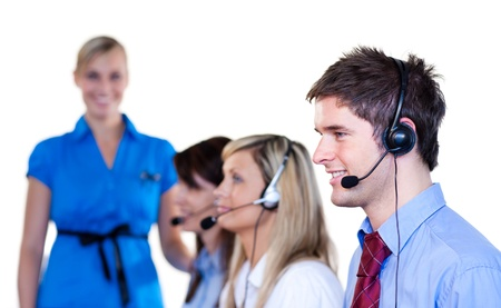 Businesspeople talking with headset  photo