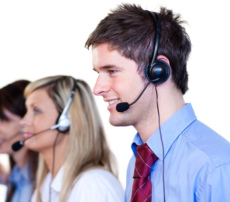 Businessman working with headset on  Stock Photo
