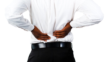 Muscular man with backpain Stock Photo - 10108028