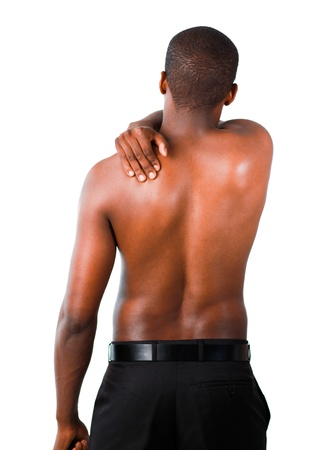 backpain: Muscular man with backpain