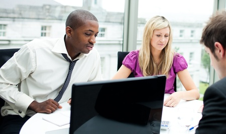 Multi-ethnic business team interacting with each other Stock Photo - 10109804
