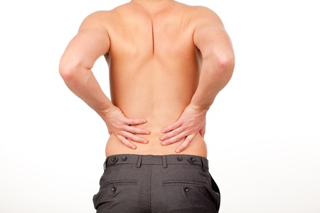 hardening: Man with backpain isolated agasint white