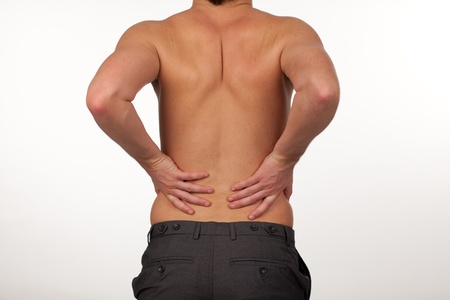 Man with backpain isolated agasint white photo