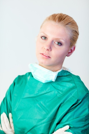 Female doctor looking serious photo
