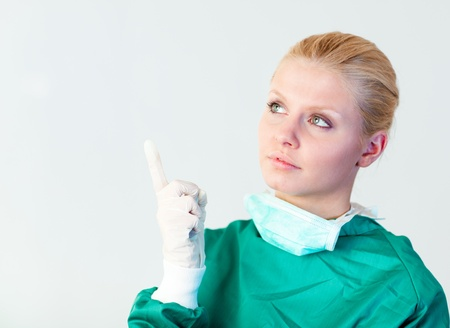 Female doctor looking upwards Stock Photo - 10110523