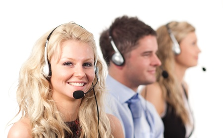 Three people in a call centre Stock Photo - 10108943