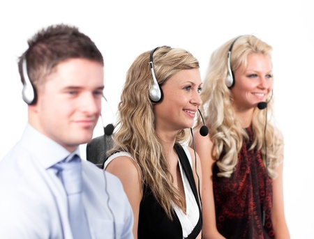 Three people in a call centre Stock Photo - 10109640