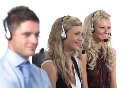 Three people in a call centre Stock Photo - 10108954