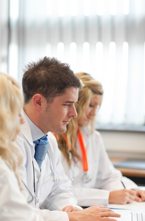 Team of doctors at a meeting photo
