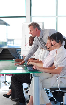 Business manager in a call centre Stock Photo - 10114826