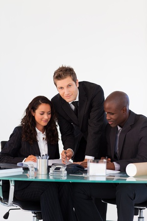 Business team talking to each other in a meeting Stock Photo - 10115501