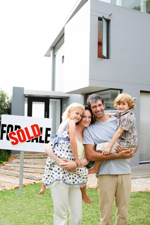 Family buying a house photo